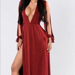 Cold shoulder Maxi dress with slits.